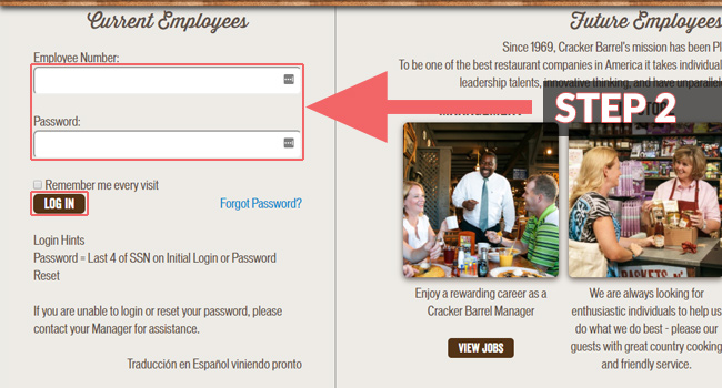 Cracker Barrel Employee Login Steps