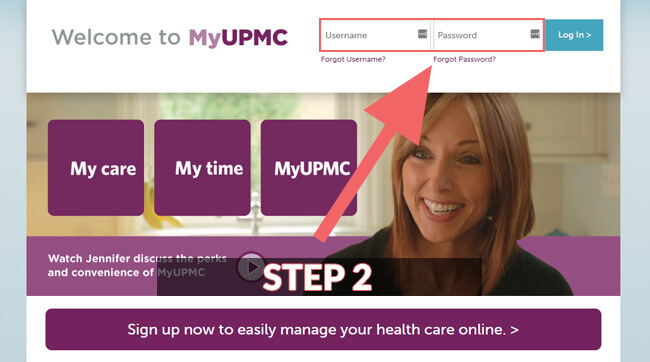 myupmc login steps