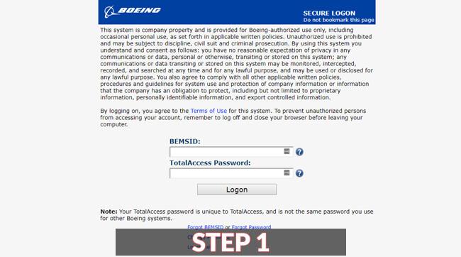 boeing total access login guide screenshot