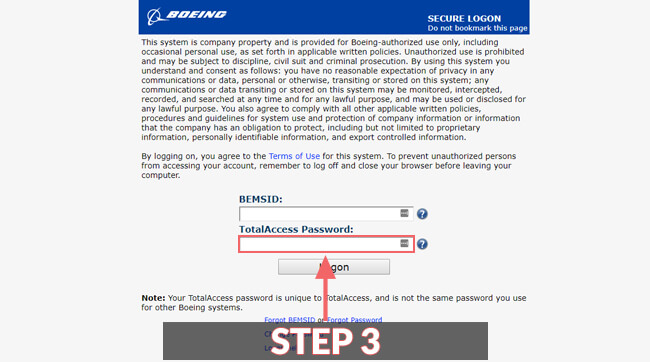 boeing total access login guide screenshot