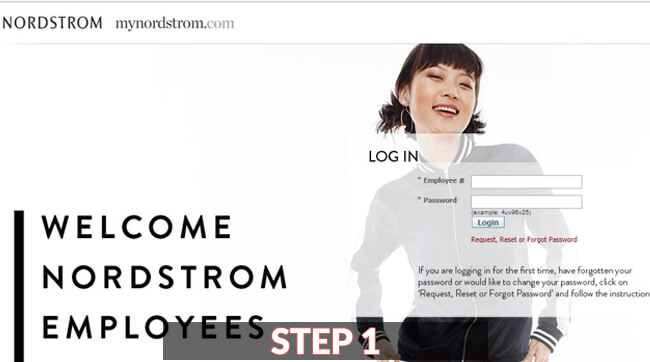 nordstrom employee login guide screenshot